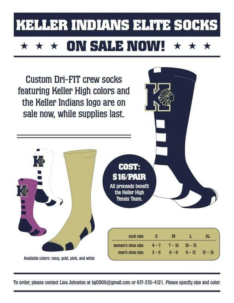 KHS+Tennis+is+selling+navy%2C+gold+and+pink+Dri-Fit+socks+to+help+the+team.