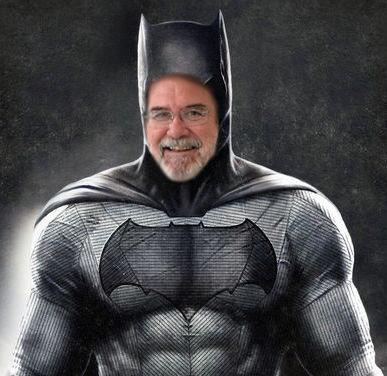 Thanks to Kate Carlin, we have a picture of Mr.Taylor as Batman. She took a picture after asking him to pose for one.