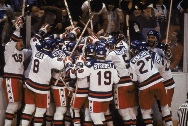 LAKE PLACID, NY - FEB 22:  Team USA celebrates their 4-3 victory over the Soviet Union in the semi-final Men's Ice Hockey event at the Winter Olympic Games in Lake Placid, New York on February 22, 1980.   The game was dubbed