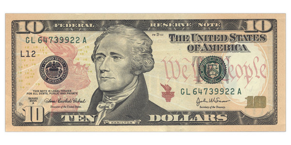 Who's on the ten dollar bill?