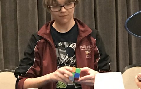 C.J. York records a 3 by 3 cube solve recorded by a head mount.