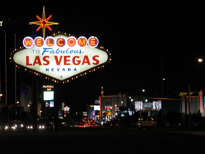 A picture of the Welcome to Las Vegas sign at night. the Photo was taken by David_Vasquez and can be found here: https://commons.wikimedia.org/wiki/File:WelcomeToVegasNite.JPG#filelinks
